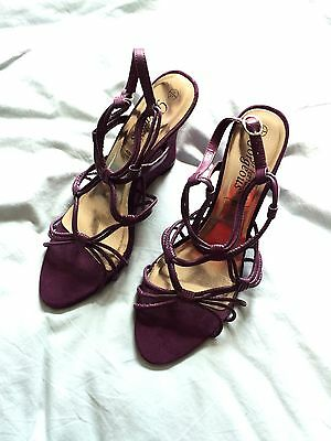 New Look Purple Strappy Wedge Sandals - Size 8
