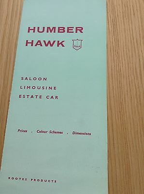 Humber Hawk Colour Schemes , Dimensions And Price List Ref 695/H Oct 1959