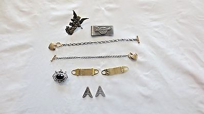 Lot 7 Various Men's Jewelry and Accessories:Shirt tips,Nony,Watch Fob,Dr Marten'
