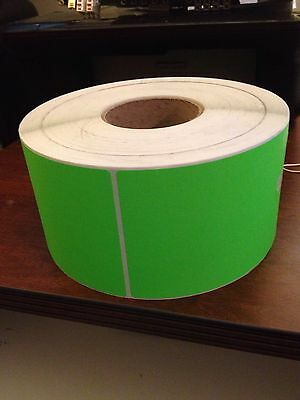 4x6 Matte Fluorescent Green Perforated Labels 4 Thermal Transfer Ribbon Printers