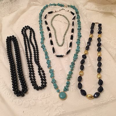 Job Lot Of Costume Jewellery Large Strands Of Beads Black Green Gold Turquoise