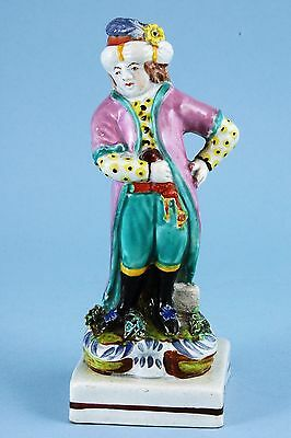 Staffordshire Pottery Figure of a Boy in Turkish Style Costume, c1820