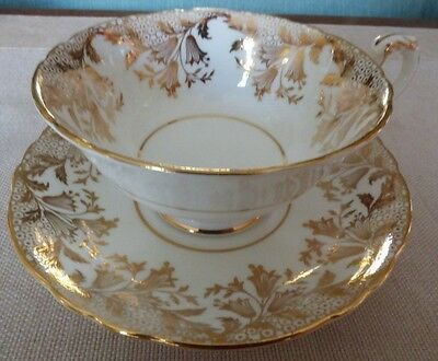 PARAGON White TEA CUP AND SAUCER  GOLD GILT Numbered, Mint