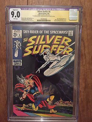 Silver Surfer  #4  Cgc 9.0  White Pages  (Restored) Signed By Stan Lee