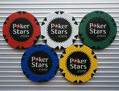 Set Of 5 Pokerstars.com Casino/poker Chips - Brand New