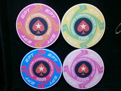 Set Of 4 Pokerstars Ept Casino Ceramic Poker Chips - Brand New