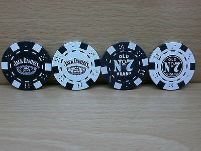 Set Of 4 Jack Daniel's Casino Poker Chips - New