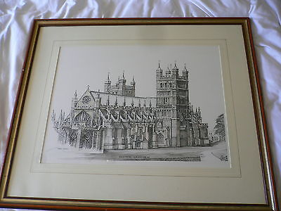 Peter Goodhall. Large Original Pen and wash. Exeter Cathedral.