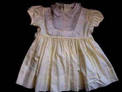 Vintage YOUNGLAND Yellow & White Baby Girl DRESS sz 24 months