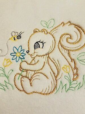 Handmade Personalized Embroidery Fleece Baby Blanket With a Baby Squirrel