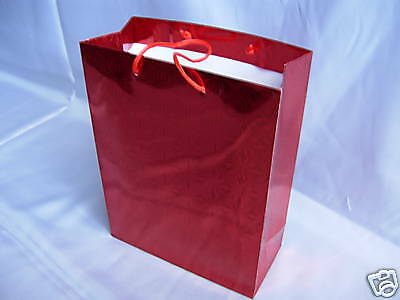 12 Red Metallic Paper Present Carrier Gift Bags Wedding Birthday Party 27cm