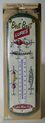 BEST BAIT LURES NOSTALGIC TIN THERMOMETER Metal Fishing NEW Vintage Repro Out/In