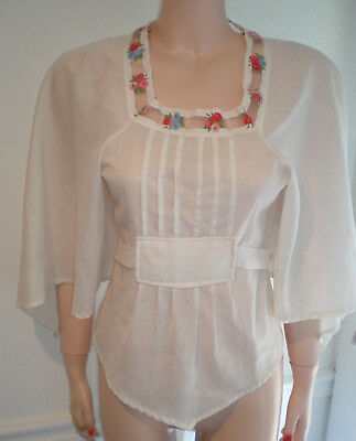 Vintage 70's Embroidered Blouse, Hippy, Boho, Tie Back, By Walters Girl, Sz M