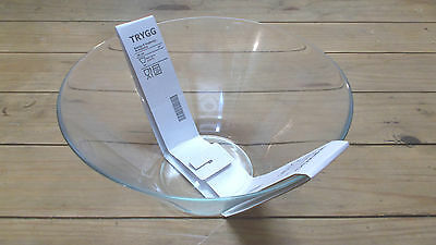 "Ikea Trygg 11"" Bowl Nwt Clear Glass Salad Serving"