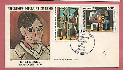 1981 Fdc Benin Air Mail Set Picasso Paintings #c294-95