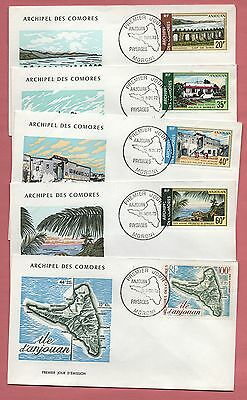 5 Fdc 1972 Comoro Islands Pictorial Air Mails # C45-49