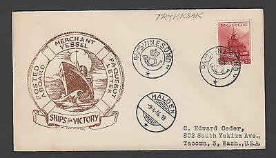 Norway 1946 cover D/S SVINESOND to USA PAQUEBOT LETTER