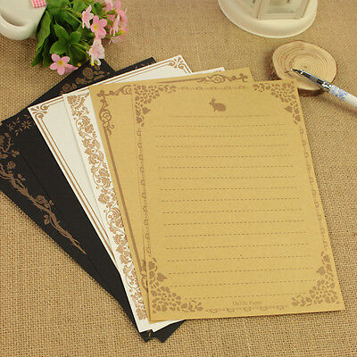 Hot 8Pcs Retro Writing Paper Cute Note Letter Pad Writing Stationery Scrapbook
