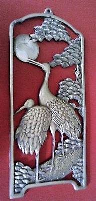 Chinese Cranes Solid Brass Wall Plaque
