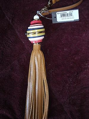 NWT Fossil Leather Fringe Key Ring Fob Purse Backpack Charm Adult Kids Students