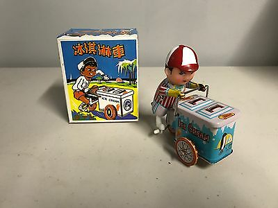 Ice Cream Man With Cart Metal Wind Up Vintage Tin Toy With Box