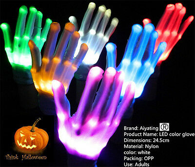 LED Rave Flashing Gloves Glow 7 Mode Light Up Finger Tip Lighting Pair White NEW