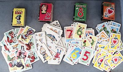 Vtg 4 Mini Card Games Old Maid Crazy 8 Rummy Hearts Peter Pan Whitman Publishing