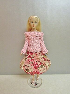"""Outfit for 10"""" Tiny Kitty Pretty Pink Sweater Floral Bubble Skirt & Shoes"""