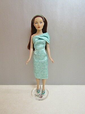 """Outfit for Tonner 10"""" Tiny Kitty Teal Green Brocade Satin Dress Headband & Shoes"""