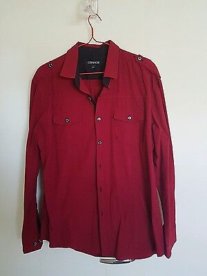 Men's Red Connor Long Sleeve Business Shirt Size L