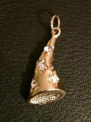 Vintage Disney Mickey Mouse Wizard's Hat Gold Tone Charm