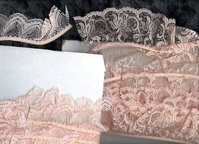 2 lots of 10 metres total of 60mm  & 40mm wide APRICOT GATHERED  EDGING LACE,