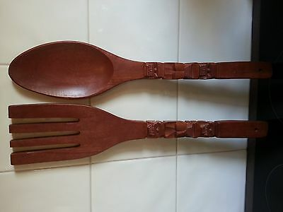 Kitsch Retro Carved Wooden Fork and Spoon Hanging Wall Decor As New