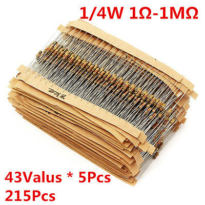 215Pcs 43 Values 1/4W 0.25W Carbon Film Resistors Assortment kit 1-1M Ohm Ω