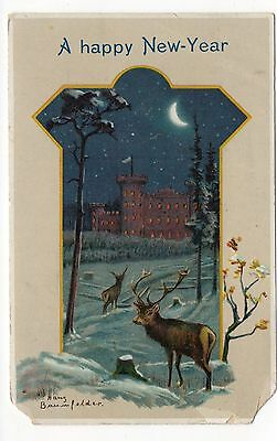 A Happy New Year, Vintage Postcard, May