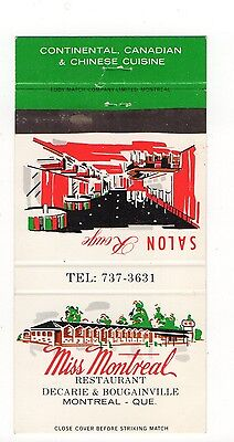 Miss Montreal Restaurant Montreal Canada, Vintage Matchbook Cover Jan16