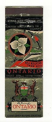 The Province Of Ontario Canada Vacation Fun, Vintage Matchbook Cover Jan16