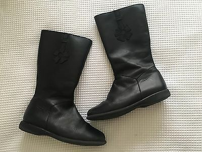 Girls Black Leather Boots Size EUR29
