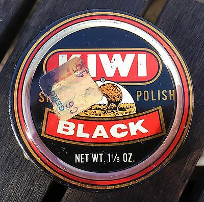 Vintage Kiwi Black Shoe Boot Polish 1 1/8 oz Tin USA