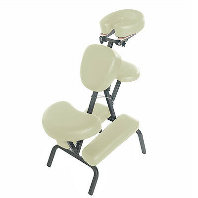 Portable Foldable Steel Upright Massage Chair W/carry Bag - Spa/tattoo - Cream