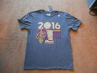 Authentic Addidas NBA Cleveland Cavaliers 2016 Champs Gray Shirt Men L TAGS NEW!