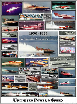 Color Hydroplane Poster - Early 50s - Slo-mo IV, 40+ unlimiteds