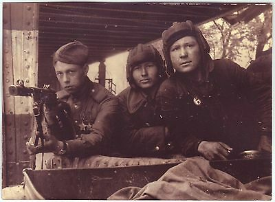 Staged Up Wwii Press Photo: Group Of Russian Soldiers, End Of War
