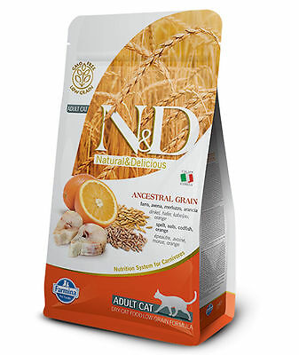 Farmina N&D low Ancestral Grain Adult Merluzzo e Arancia per gatti