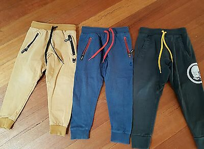 2 x MUNSTER kids size 5 boys trackies pants (mustard and charcoal)