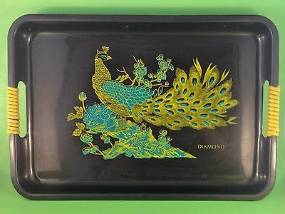 Vintage 1950's plastic serving tray by Diamond Peacock theme