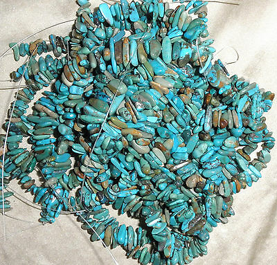 """10 strand lot Stacked Turquoise Chip beads Natural colors 16"""" Strands  # 967"""