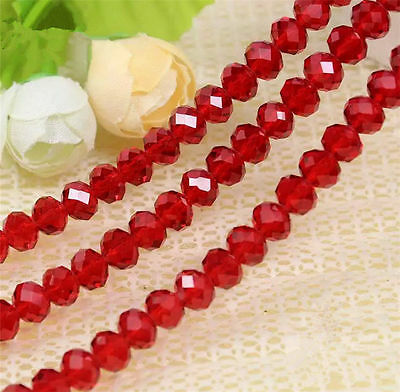 New ! Jewelry Faceted red 6x8mm Crystal Beads 054