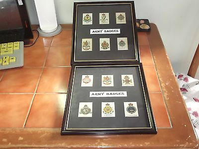 2  Lots Of Framed Silk Cards Of Army Badges Quite Old