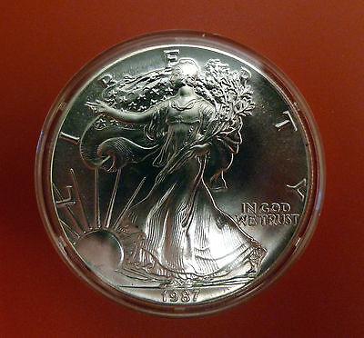 1987 Usa 1 Ounce Eagle Silver Dollar In Mint Condition In Capsule